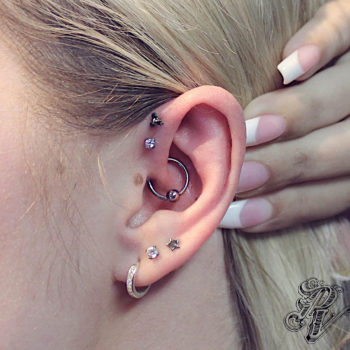 Double Forward Helix, Daith, and Triple Lobe